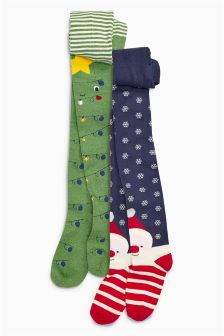 Christmas Character Tights Two Pack (3-16yrs)