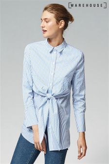 Warehouse Blue Tie Front Striped Shirt