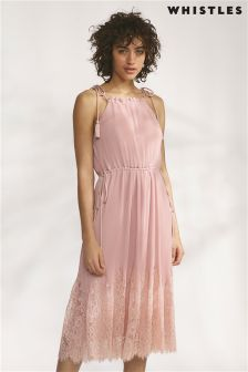 Whistles Pale Pink Lilian Pleated Lace Mix Dress