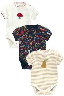 Short Sleeve Floral Print Bodysuits Three Pack (0mths-2yrs)