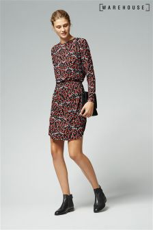 Warehouse Red Tiger Moth Printed Wrap Dress