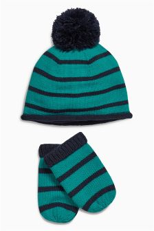 Stripe Hat And Mitts Set (0mths-2yrs)