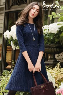 Boden Navy Curve And Flare Dress