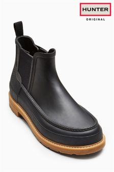 Hunter Original Black Lightweight Mocc Toe Chelsea Welly Boot