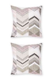 Set Of 2 Texture Chevron Square Pillowcases
