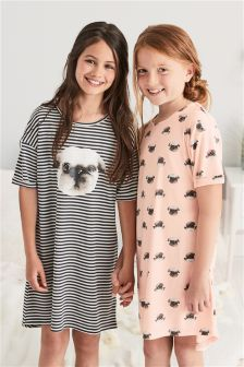 Pug Nighties Two Pack (3-16yrs)