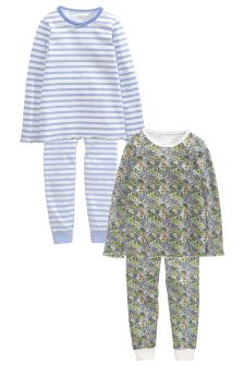 Ditsy And Stripe Snuggle Pyjama Two Pack (3-16yrs)