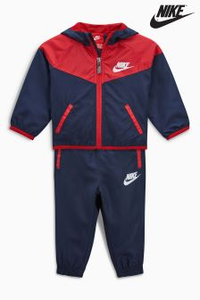 Nike Little Kids Navy/Red Hooded Windbreaker Tracksuit Set