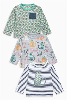Cat Long Sleeve Tops Three Pack (3mths-6yrs)