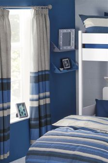 Blue Stripe Pencil Pleat Curtains