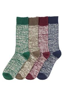 Slub Heavyweight Socks Four Pack