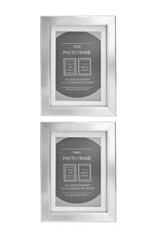 "Set of 2 Chrome Effect 6 x 4"" Frames"
