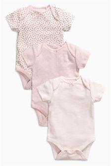 Floral Print Short Sleeve Bodysuits Three Pack (0mths-2yrs)
