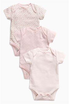 Floral Print Short Sleeve Bodysuits Three Pack (0mths-2yrs)