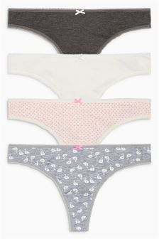 Cotton Thongs Four Pack