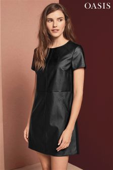 Oasis Black Faux Leather Shift Dress