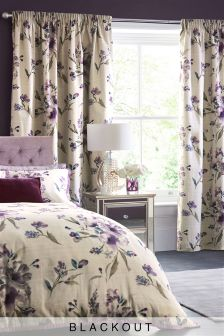 Cotton Sateen Mauve Floral Blackout Pencil Pleat Curtains