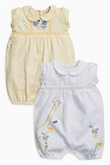 Embroidered Rompers Two Pack (0mths-2yrs)