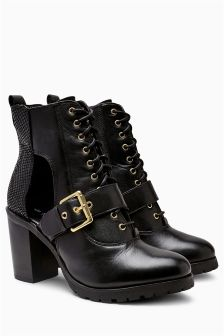 Cut Out Platform Lace-Up Boots