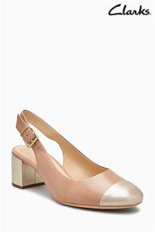 Clarks Nude/Gold Orabella Toe Cap Slingback Heel