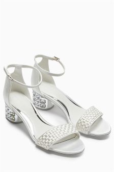 Ivory Jewel Heel Sandals