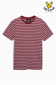 Lyle & Scott Burgundy/White Stripe T-Shirt