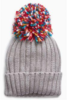 Rainbow Pom Hat