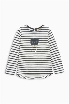 Long Sleeve Stripe Cat T-Shirt (3mths-6yrs)