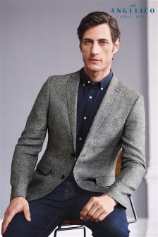 Textured Linen Slim Fit Jacket