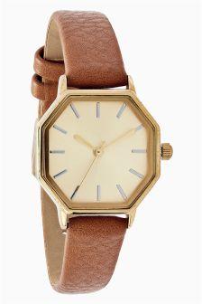 Octagonal Case Strap Watch