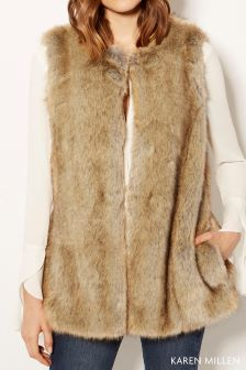 Karen Millen Natural Faux Fur Gilet