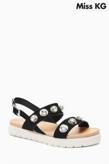 Miss KG Black Rita Embellished Strap Sandal