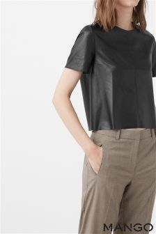 Mango Black Faux Leather Top