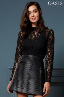 Oasis Black Lace High Neck Top