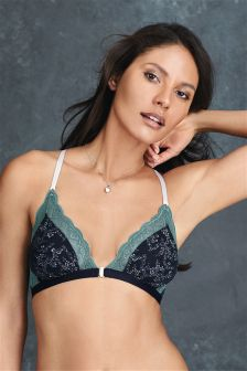 Daisy Non Wire Front Fastening Jacquard Bralet