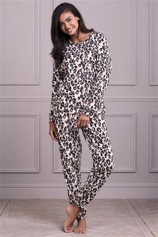 Wrapband Long Sleeve Animal Print Pyjamas