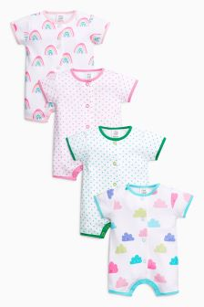 Cloud Short Leg Rompers Four Pack (0mths-2yrs)