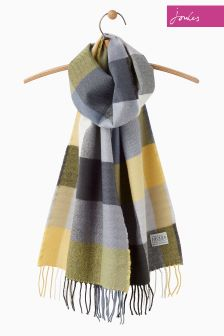 Joules Grey Check Bracken Woven Scarf