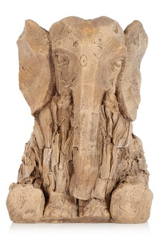 Wood Effect Elephant Sculpture