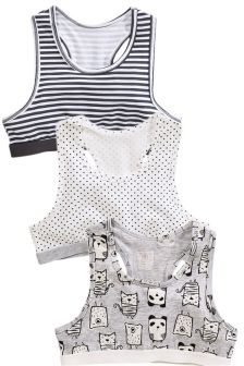 Panda Print Crop Tops Three Pack (Older Girls)