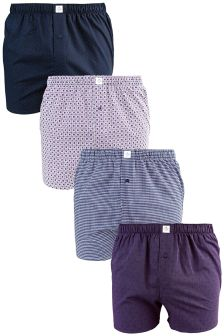Mix Pattern Woven Boxers Four Pack