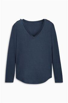 Tencel® Button Long Sleeve Top