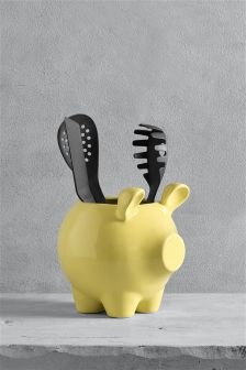 Ceramic Pig Utensil Pot