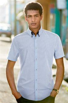 White Print Double Collar Shirt