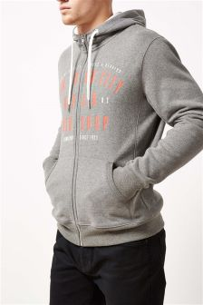 Graphic Zip Through Hoody