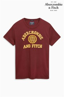 Abercrombie & Fitch Burgundy Stamp Logo T-Shirt