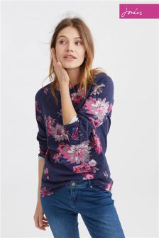Joules Navy Floral Harbour Jersey Top