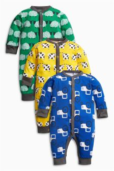 Farm All Over Print Rompers Three Pack (0mths-2yrs)