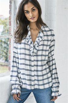 Ruffle Check Blouse