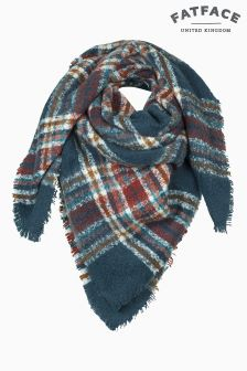Fat Face Teal Grace Bouclé Check Scarf